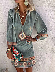 cheap -Women's A Line Dress Knee Length Dress Blue Gray Orange 3/4 Length Sleeve Geometric Symbol Print Summer Deep V Ethnic Style Boho Bohemia Beach S M L XL XXL XXXL