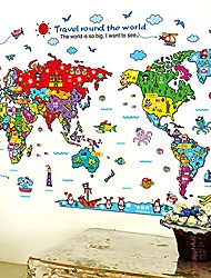 cheap -colorful animal world map wall sticker children educational puzzle diy decal mural peel and stick removable wallpaper for kids nursery playroom living room classroom bedroom bed wall background decor