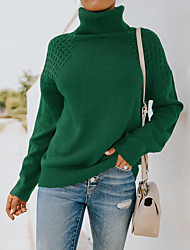 cheap -Women's Sweater Knitted Solid Color Stylish Long Sleeve Loose Sweater Cardigans Turtleneck Fall Winter Army Green Brown Beige