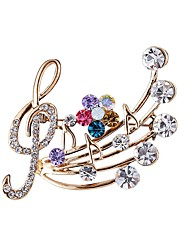 cheap -AAA Cubic Zirconia Brooches Basic Music Notes Fashion Sweet Brooch Jewelry Gold For Daily Wear Date