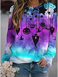 cheap -Women's Sweatshirt Pullover Stars Pumpkin Bat Print Halloween Sports 3D Print Streetwear Halloween Hoodies Sweatshirts  Purple