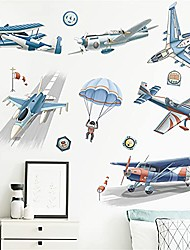 cheap -airplane wall stickers for boys,watercolor airplanes parachute astronaut wall art decals peel and stick wall stickers for kids bedroom nursery playroom decor