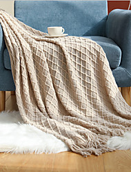 cheap -New Simple Knitted Blankets Shawls Tassel Bed End Towels Office Blankets Air Conditioning Covers Sofa Blankets 127*152cm