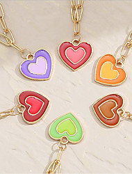 cheap -Women's Choker Necklace Pendant Necklace Drop Heart Simple Unique Design Fashion European Alloy Purple Yellow Blushing Pink Green Red 45-52 cm Necklace Jewelry 1pc For Party Evening Street Prom