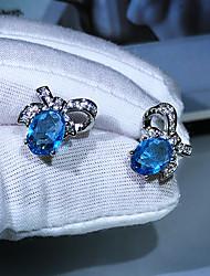 cheap -Women's AAA Cubic Zirconia Earrings Oval Cut Wedding Precious Luxury Elegant Fashion Korean Sweet Earrings Jewelry Silver For Wedding Party Evening Date Birthday Promise 1 Pair