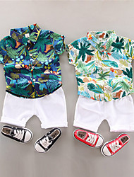 cheap -Kid's Boys' T-shirt & Shorts 2 Pieces White Navy Blue Flower / Floral Cotton Basic Chic & Modern Casual