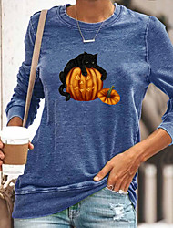 cheap -Women's Halloween Cat Abstract Painting T shirt Cat Pumpkin Long Sleeve Print Round Neck Basic Halloween Tops Cotton Blue Yellow Gray