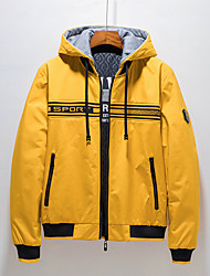 cheap -Men's Jacket Daily Fall Winter Regular Coat V Neck Regular Fit Windproof Rain Waterproof Quick Dry Casual Jacket Long Sleeve Geometric Letter Print Yellow Light Grey Black