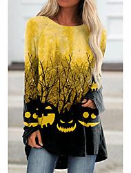 cheap -Women's Halloween Abstract Painting T shirt Graphic Pumpkin Long Sleeve Print Round Neck Basic Halloween Tops Blue Yellow Blushing Pink / 3D Print