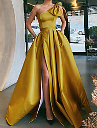 cheap -A-Line Vintage Sexy Party Wear Formal Evening Dress One Shoulder Sleeveless Sweep / Brush Train Satin with Bow(s) Pleats Split 2021
