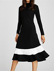 cheap -Women's A Line Dress Knee Length Dress Black and white stripes White Black Red Long Sleeve Floral Striped Animal Print Fall Winter Turtleneck Casual 2021 M L XL XXL 3XL 4XL