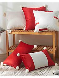 cheap -xu ai 2021 new pillowcase christmas red stitching hanging ball tassel cushion cover model room pillowcase wholesale