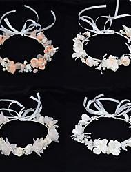 cheap -Princess Children's Simulation Wreath Headdress Handmade Pearl Flower Hair Accessories Fairy Wedding Dress Head Flower