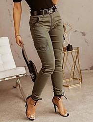 cheap -Women's Casual / Sporty Streetwear Comfort Jogger Tactical Cargo Trousers Cotton Slim Casual Weekend Pants Plain Full Length Pocket Multi Pocket Gray Green Black