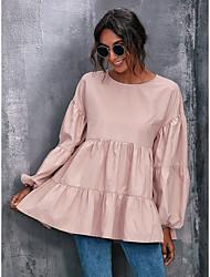 cheap -Women's Blouse Peplum Peasant Blouse Plain Long Sleeve Ruffle Flowing tunic Round Neck Casual Streetwear Tops Blushing Pink