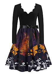 cheap -Women's A Line Dress Knee Length Dress Blue Yellow Gray Khaki Orange Black Long Sleeve Animal Print Fall Winter V Neck Casual Vintage Halloween Regular Fit 2021 S M L XL XXL