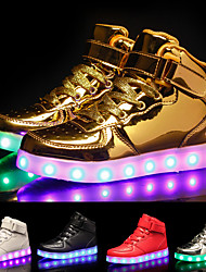 cheap -Men's Sneakers LED Light Up Shoes USB Charging High Top Dailywear School PU Red Pink Gold Summer
