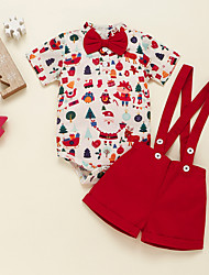 cheap -2 Pieces Baby Boys' Christmas Clothing Set Fashion Casual Daily Christmas Cotton Red Print Bow Print Short Sleeve Regular / Fall / Winter