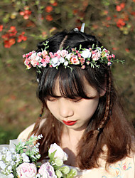 cheap -Garland Headgear Simulation Flower Gypsophila Children's Headband Bride Hair Accessories Photo Shoot Outside Head Wearing Flower Wreath Female