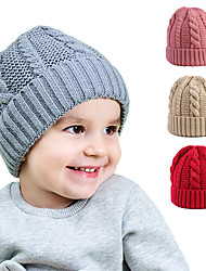 cheap -Kid's / Baby Boys' / Girls' Vacation Solid Color Knitted Acrylic Hats & Caps Blushing Pink / Grey / White One-Size