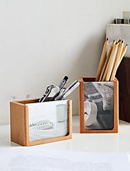 cheap -Solid Wood Pen Holder Creative Fashion Stationery Storage Box Desktop Office Pen Barrel Decoration Wooden Photo Frame