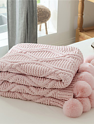 cheap -Star Time Solid Color Knit Office Nap Blanket 130*160cm