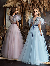 cheap -A-Line Floor Length Flower Girl Dresses Party Chiffon Short Sleeve Jewel Neck with Appliques