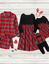 cheap -Family Sets Family Look Cotton Plaid Bow Red Long Sleeve Daily Matching Outfits / Summer