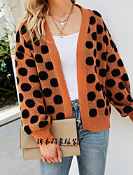 cheap -Women's Cardigan Modern Style Dot Active Casual Long Sleeve Loose Sweater Cardigans Open Front Fall Winter A large number of spot goods issued on the same day Orange Black / Holiday