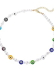 cheap -evil eye pearl beaded choker necklace, bohemian evil eye glaze beads pearls strand necklace for women girls y2k style summer beach vacation amulet jewelry-mix