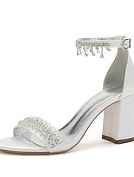 cheap -Women's Wedding Shoes Chunky Heel Open Toe Wedding Satin Rhinestone Tassel Solid Colored Green / Blue Purple Yellow