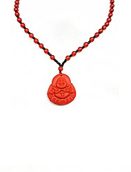 cheap -lucky obsidian buddha carved pendant necklace laughing maitreya buddha natural stone amulet bead rope chain choker 60cm-red