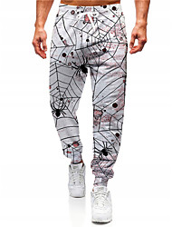 cheap -Men's Novelty Designer Casual / Sporty Big and Tall Breathable Sports Jogger Pants Sweatpants Trousers Halloween Daily Pants Graphic Prints Spider Spider web Full Length Drawstring Elastic Waist White