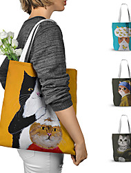 cheap -Canvas Shoulder storage bag back to school Halloween goody bag chic colored cute cats portable grocery shopping cloth book tote