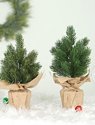 cheap -Artificial Tree Linen Bottom PE Material Mini Christmas Tree Table Pendulum Small Tree Christmas Decorations