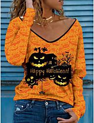 cheap -Women's Halloween Abstract Painting T shirt Text Pumpkin Long Sleeve Print V Neck Basic Halloween Tops Blue Purple Yellow / 3D Print