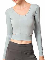 cheap -sportmusies women yoga long sleeve top, open back workout running casual shirt, women, light green, l (us 10) / (read left size chart image)