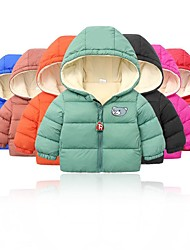 cheap -Kids Unisex Jacket & Coat 1pc Long Sleeve Blue khaki Green Solid Color Bear School Daily Wear Casual Daily 2-6 Years / Winter