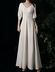 cheap -A-Line Wedding Dresses V Neck Ankle Length Satin Half Sleeve Simple Vintage Little White Dress 1950s with Buttons 2021