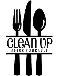 cheap -clean up after yourself quote wall decoration kitchen table knife and fork art wall sticker murals can be removed 22 x 13 inches