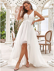 cheap -A-Line Wedding Dresses V Neck Sweep / Brush Train Chiffon Lace Tulle Sleeveless Romantic Casual with Lace Ruched Draping 2021