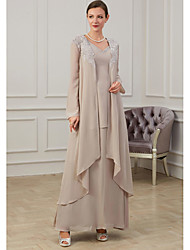 cheap -A-Line Mother of the Bride Dress Elegant Jewel Neck Floor Length Chiffon Long Sleeve with Appliques 2021