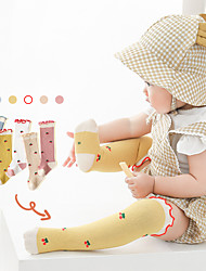 cheap -Kids Unisex Stockings One Pair Blue Yellow Blushing Pink Solid Color Cherry Cotton Daily Wear Casual Socks 6 Months+