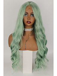 cheap -Synthetic Lace Wig Body Wave Style 24 inch Green With Bangs 4x13 Closure Wig Women's Wig Cyan / Light Green