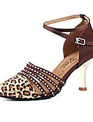 cheap -Women's Modern Shoes Ballroom Shoes Heel Leopard Print Slim High Heel Leopard Black Buckle Satin / Performance / Practice