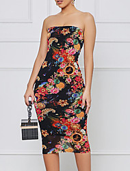 cheap -Women's Sheath Dress Knee Length Dress Black Sleeveless Floral Backless Print Summer Strapless Sexy 2021 S M L XL XXL
