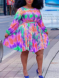cheap -Women's Plus Size Dress Sheath Dress Knee Length Dress Long Sleeve Abstract Boho Fall Light Yellow Blue Purple L XL XXL 3XL 4XL