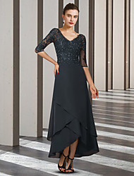 cheap -A-Line Mother of the Bride Dress Elegant V Neck Asymmetrical Ankle Length Chiffon Lace Half Sleeve with Beading Ruffles Appliques 2021