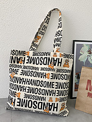 cheap -Canvas Shoulder storage bag back to school Halloween goody bag handsome letters portable grocery shopping cloth book tote   42*38 cm