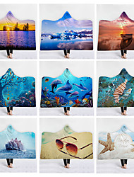 cheap -New Hooded Blanket New Products Home Blanket Children Blanket Thicker Blanket Double-layer Blanket Fresh Ocean Scenery Series